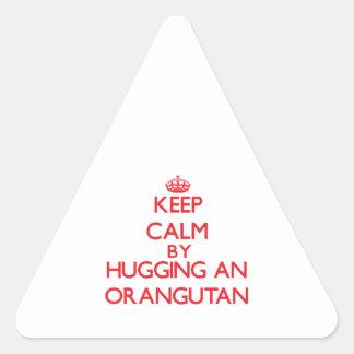 Keep calm by hugging an Orangutan Triangle Sticker