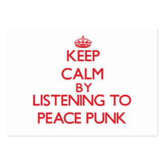 Keep calm by listening to PEACE PUNK Large Business Cards (Pack Of 100)