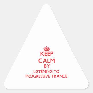 Keep calm by listening to PROGRESSIVE TRANCE Triangle Sticker