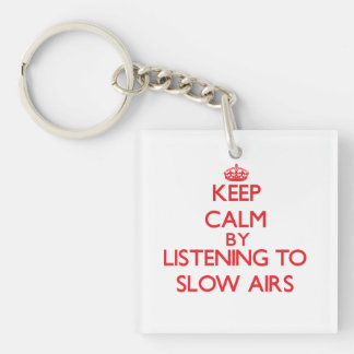 Keep calm by listening to SLOW AIRS Acrylic Keychain