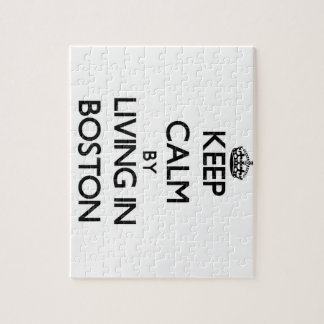 Keep Calm by Living in Boston Jigsaw Puzzle