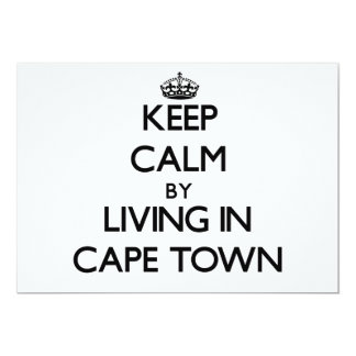"""Keep Calm by Living in Cape Town 5"""" X 7"""" Invitation Card"""