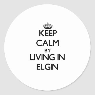 Keep Calm by Living in Elgin Round Stickers