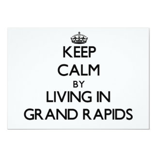 """Keep Calm by Living in Grand Rapids 5"""" X 7"""" Invitation Card"""