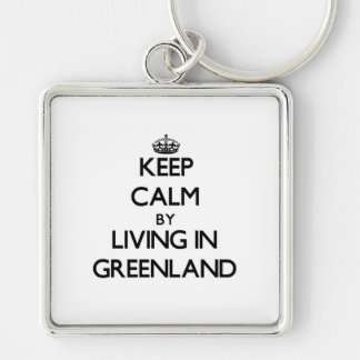 Keep Calm by Living in Greenland Key Chain