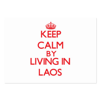 Keep Calm by living in Laos Large Business Cards (Pack Of 100)