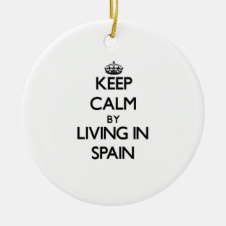 Keep Calm by Living in Spain Christmas Tree Ornaments