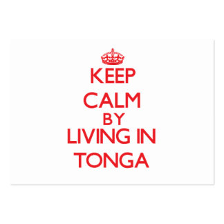 Keep Calm by living in Tonga Business Card Template