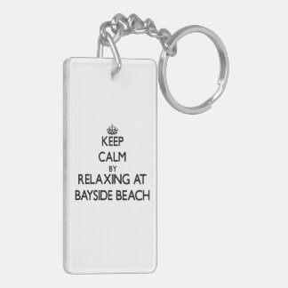 Keep calm by relaxing at Bayside Beach Maryland Double-Sided Rectangular Acrylic Keychain