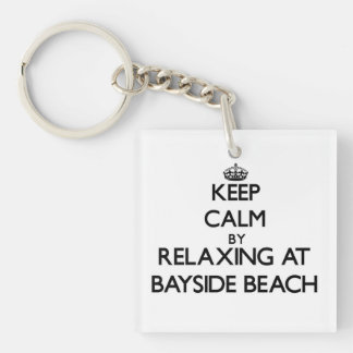 Keep calm by relaxing at Bayside Beach Maryland Single-Sided Square Acrylic Keychain