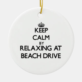 Keep calm by relaxing at Beach Drive Florida Christmas Tree Ornaments