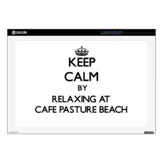 """Keep calm by relaxing at Cafe Pasture Beach Rhode 17"""" Laptop Decal"""