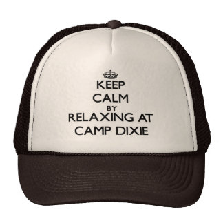 Keep calm by relaxing at Camp Dixie Alabama Trucker Hat