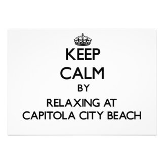 Keep calm by relaxing at Capitola City Beach Calif Custom Announcements