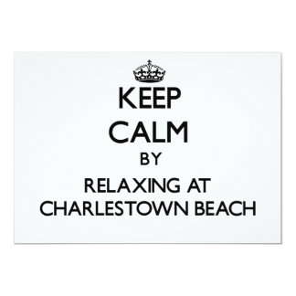 Keep calm by relaxing at Charlestown Beach Rhode I 5x7 Paper Invitation Card