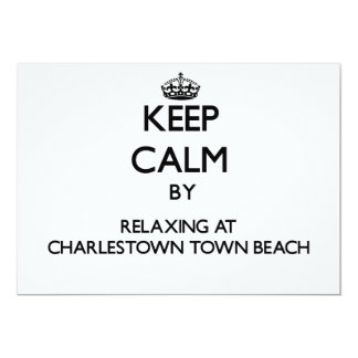 Keep calm by relaxing at Charlestown Town Beach Rh 5x7 Paper Invitation Card