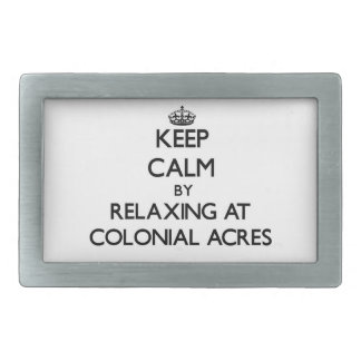 Keep calm by relaxing at Colonial Acres Massachuse Rectangular Belt Buckle