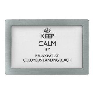 Keep calm by relaxing at Columbus Landing Beach Vi Rectangular Belt Buckles