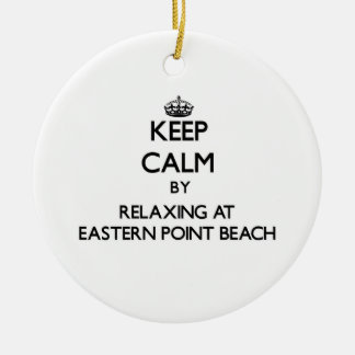 Keep calm by relaxing at Eastern Point Beach Conne Double-Sided Ceramic Round Christmas Ornament