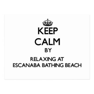 Keep calm by relaxing at Escanaba Bathing Beach Mi Postcard