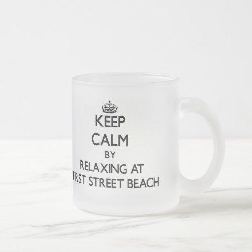 Keep calm by relaxing at First Street Beach Michig Coffee Mug