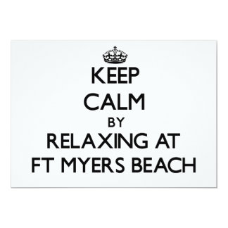 Keep calm by relaxing at Ft Myers Beach Florida 5x7 Paper Invitation Card