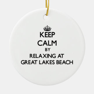 Keep calm by relaxing at Great Lakes Beach Michiga Double-Sided Ceramic Round Christmas Ornament