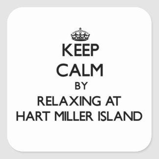 Keep calm by relaxing at Hart Miller Island Maryla Square Stickers