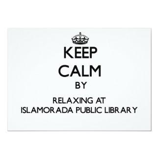 "Keep calm by relaxing at Islamorada Public Library 5"" X 7"" Invitation Card"