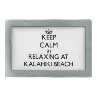 Keep calm by relaxing at Kalahiki Beach Hawaii Rectangular Belt Buckle