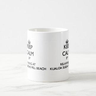 Keep calm by relaxing at Kualoa Sugar Mill Beach H Classic White Coffee Mug