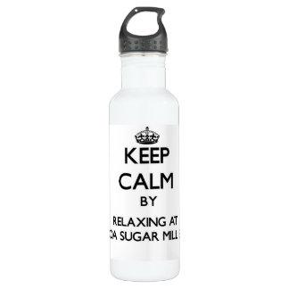 Keep calm by relaxing at Kualoa Sugar Mill Beach H 24oz Water Bottle