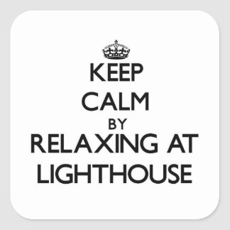 Keep calm by relaxing at Lighthouse Massachusetts Square Sticker
