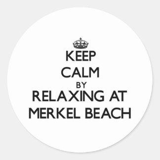 Keep calm by relaxing at Merkel Beach Massachusett Classic Round Sticker