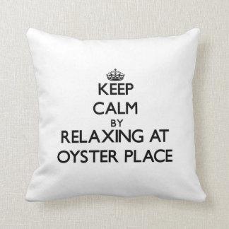Keep calm by relaxing at Oyster Place Massachusett Pillow