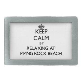 Keep calm by relaxing at Piping Rock Beach New Yor Rectangular Belt Buckle