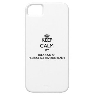 Keep calm by relaxing at Presque Isle Harbor Beach iPhone 5 Cover