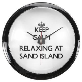 Keep calm by relaxing at Sand Island Hawaii Aqua Clocks