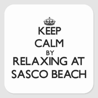Keep calm by relaxing at Sasco Beach Connecticut Square Sticker