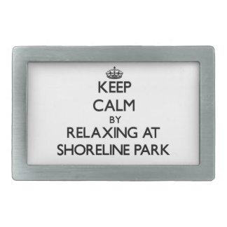 Keep calm by relaxing at Shoreline Park Florida Rectangular Belt Buckle