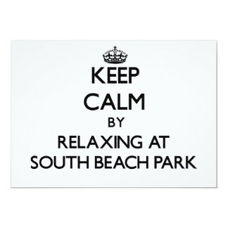 Keep calm by relaxing at South Beach Park Florida 5x7 Paper Invitation Card