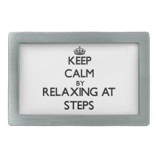 Keep calm by relaxing at Steps Massachusetts Rectangular Belt Buckles