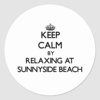 Keep calm by relaxing at Sunnyside Beach Florida Classic Round Sticker