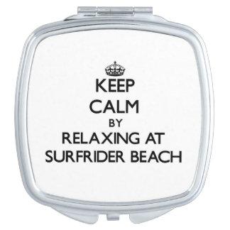Keep calm by relaxing at Surfrider Beach Californi Makeup Mirror