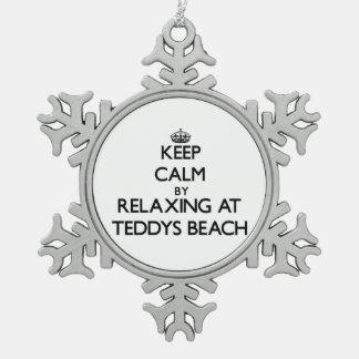 Keep calm by relaxing at Teddys Beach Rhode Island Ornaments