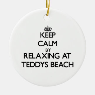 Keep calm by relaxing at Teddys Beach Rhode Island Christmas Tree Ornaments