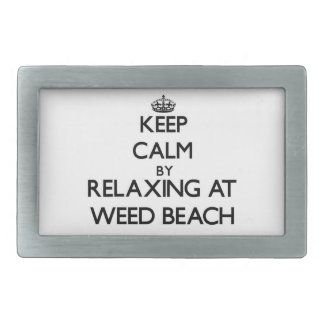 Keep calm by relaxing at Weed Beach Connecticut Rectangular Belt Buckle