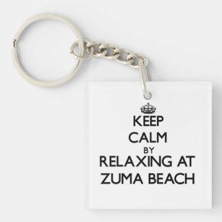 Keep calm by relaxing at Zuma Beach California Acrylic Keychains