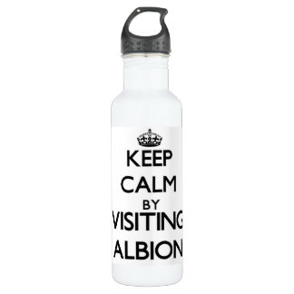 Keep calm by visiting Albion Illinois 24oz Water Bottle