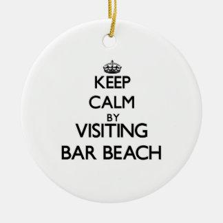 Keep calm by visiting Bar Beach New York Christmas Tree Ornament